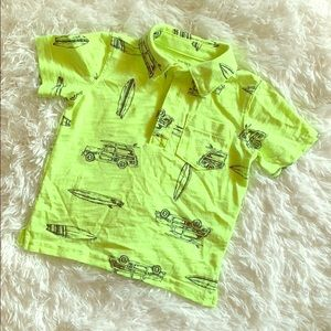 2/$10 Carter's Boy Neon Green Short Sleeved Polo